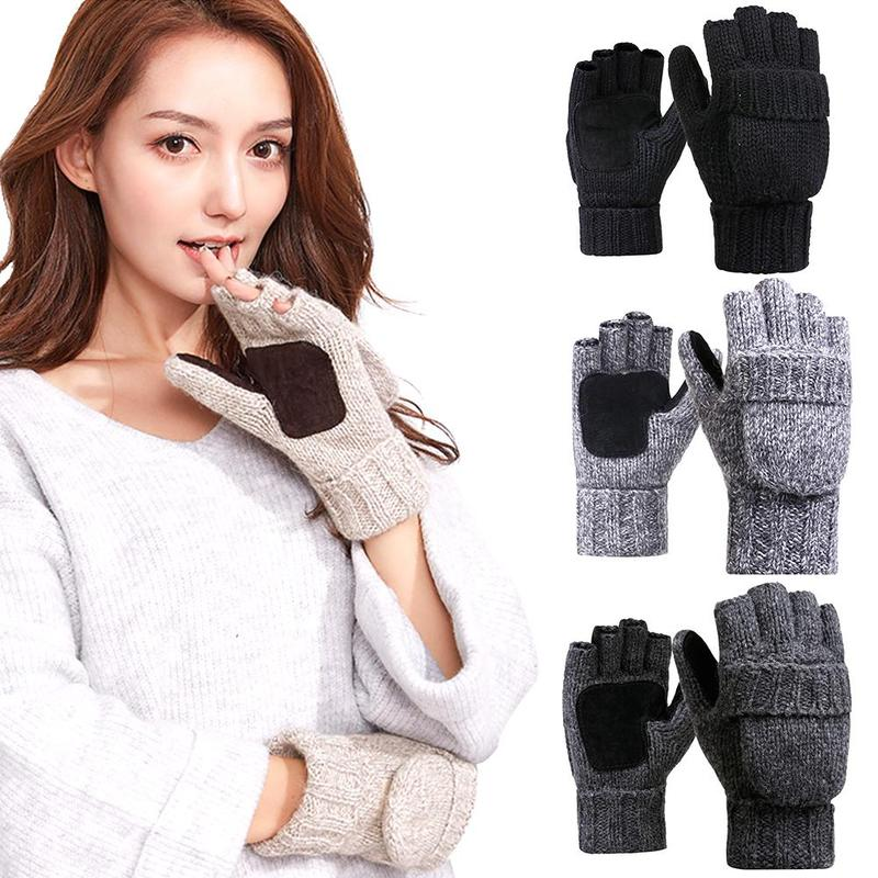 Winter Unisex Warm Cover Gloves Warm Fleece Half Finger Elastic Fingerless Gloves Outdoor Riding Driving Gloves