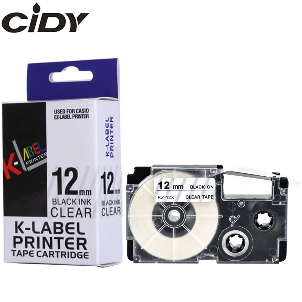 CIDY XR-12X XR 12X XR12X 12mm Black On Clear Compatible For EZ Label Printer Casio KL60 KL120 KL100 Strong Adhesive LABEL Tape