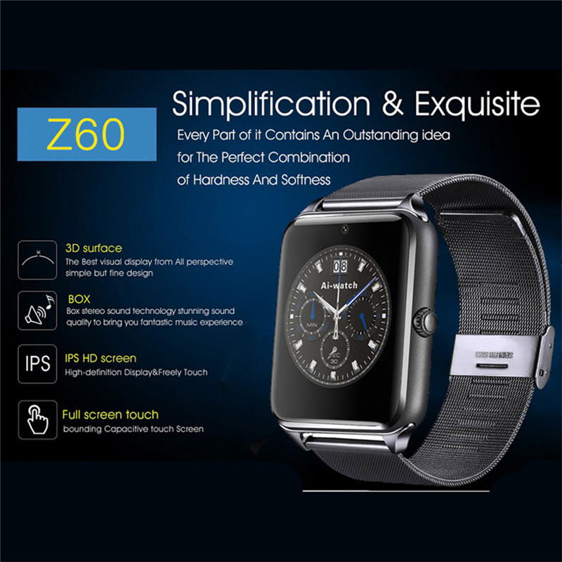 NO-BORDERS GT08/Z60 Smart Watch Plus Metal Strap Bluetooth Wrist Smartwatch Support Sim TF Card For Android IOS PK S8 IWO 8