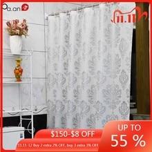 Cortina de chuveiro de tecido peva com ganchos telas de banho de plástico à prova dwaterproof água flores geométricas impressão eco friendly cortinas do banheiro