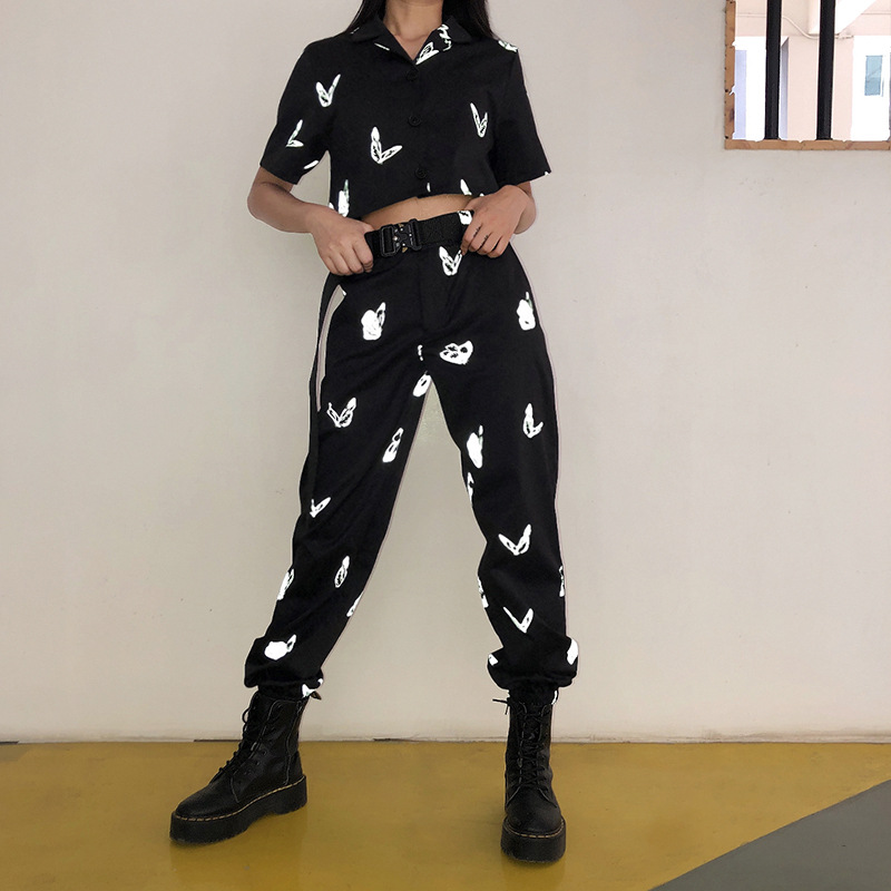 NCLAGEN Reflective Butterfly Print Harem Pants High Waist Casual Trousers Women Pant 2020 Loose Joggers Sweatpants Streetwear