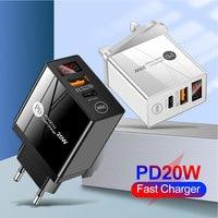 20W QC3.0 PD tipo-c doppia porta Display a LED caricatore USB adattatore di alimentazione a ricarica rapida spina US/EU/UK per iPhone 12 X caricabatterie per telefono