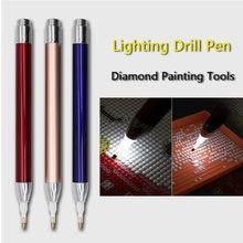 Kwadratowy okrągły diamentowy narzędzie do malowania oświetlenie punktowe wiertło nowe diamentowe długopisy 5D malowanie diamentami akcesoria