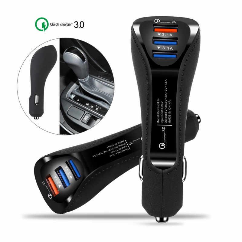 Chargeur de voiture 3 ports QC 3.0 chargeur rapide 3.1A USB double port téléphone tablette chargeur adaptateur chargeur de voiture pour téléphone Android type-c