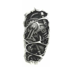 Temporary tattoos 3D black Robot mechanical arm fake transfer tattoo stickers cool men spray waterproof designs(China)