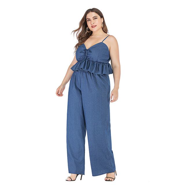 2019 new summer plus size sets for women large sleeveless loose casual denim sling tops and pants jumpsuits blue 4XL 5XL 6XL 7XL 5