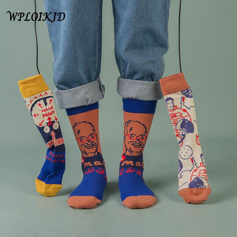 Fashion Couples Men Women Socks 44 Color Skateboard Happy Socks Art Creative Cartoon Fruit Harajuku Hip Hop Streets Funny Socks