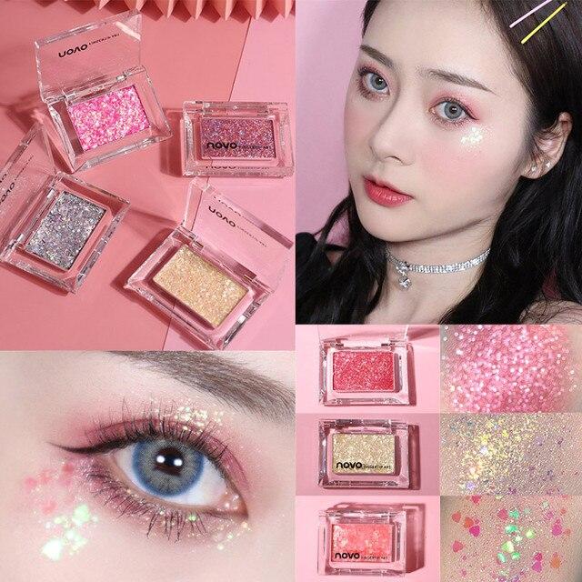 NOVO Single Color Glitter Sequins Eyeshadow Palette Makeup Galaxy Shimmer Bright Highlight Eye Shadow Waterproof Cosmetics 1