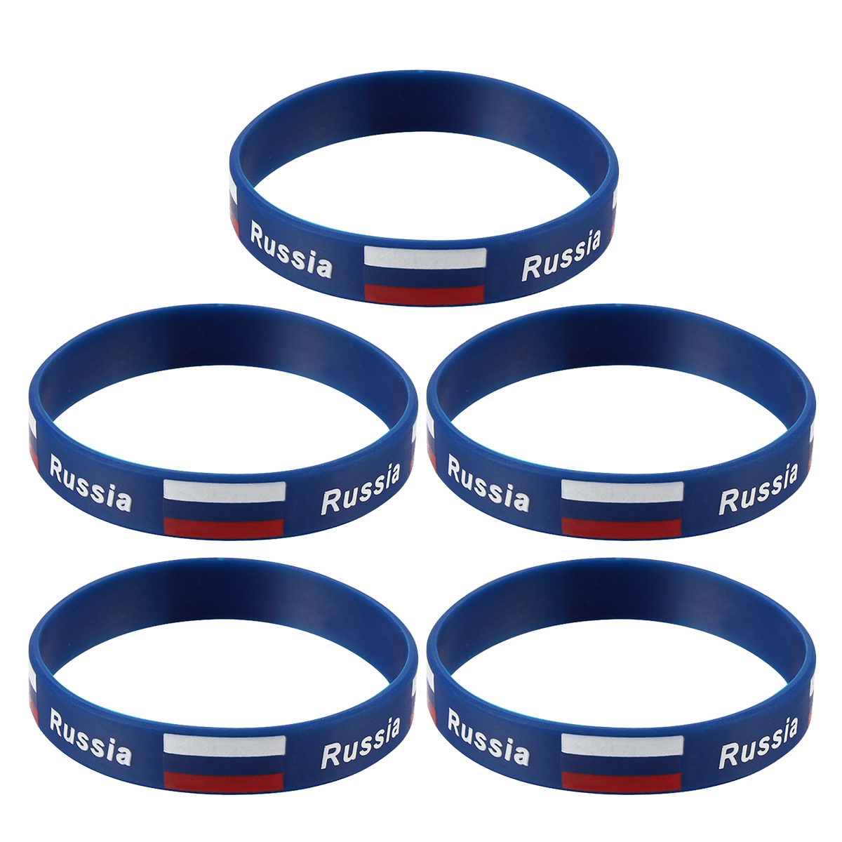 5pcs Country Flag Printed Wristband Chic Silicone Sports Bracelet Hand Ring Wristband For Sports Game Football Match (Russia)