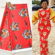 2020 African High Quality Isiagu Silk Fabrics Tiger Printed Silk Lace Red Traditional Wedding Lace George Dresses Laces Material