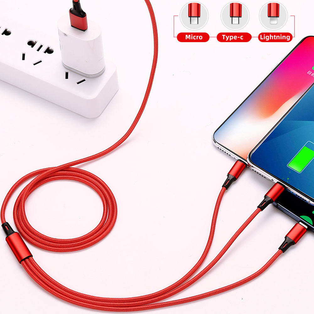5A USB fast charging cable 3 in 1 for redmi Note7 for Samsung s10 9 note9 micro huawei P30 Honor 20 Type c for iPhone 8 6S 7Plus in Mobile Phone Cables from Cellphones Telecommunications