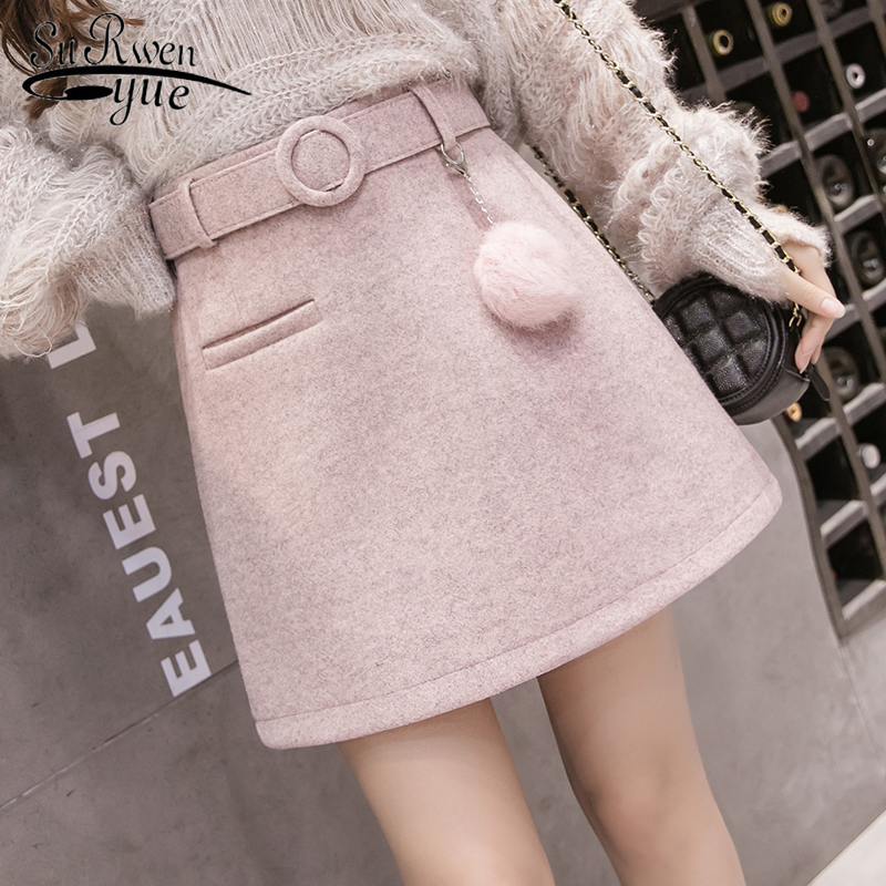 Women's Woolen Mini Skirts 2019 Autumn Winter A Line Above Knee Belted Short Skirt High Waist Slim Korean Faldas Mujer 7166 50