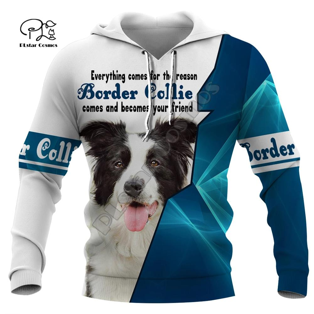 New Mens Funny Border Collie Dogs 3d Print Hoodies Autumn Long Sleeve Sweatshirts Women Pullover Tracksuit Hood Hoody Outwear