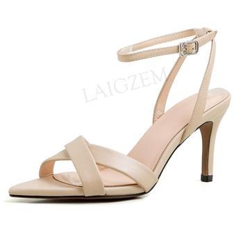 LAIGZEM Trendy Women Sandals Straps Genuine LEATHER 7.5CM High Heels Sandalias Mujer Chaussure Sapato Feminino Big Size 38 39 40