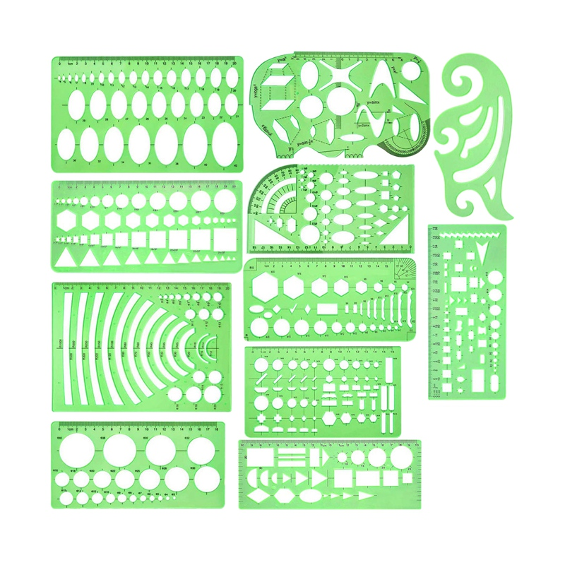 11 Pieces Geometric Drawings Templates Plastic Clear Green Plastic Rulers With 1 Pack Poly Zipper Envelopes For Studying, Design