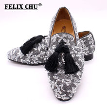 Italian fashion glitter tassel loafers men new arrival 2020 wedding dress formal shoes silver men elegant party shoes men Luxury(China)