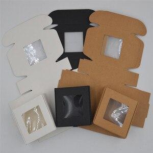 Image 2 - 50pcs/lot Small Paper Box white gift Box Packaging Party Favor Box Brown Kraft Cardboard Box black Carton packaging window boxes