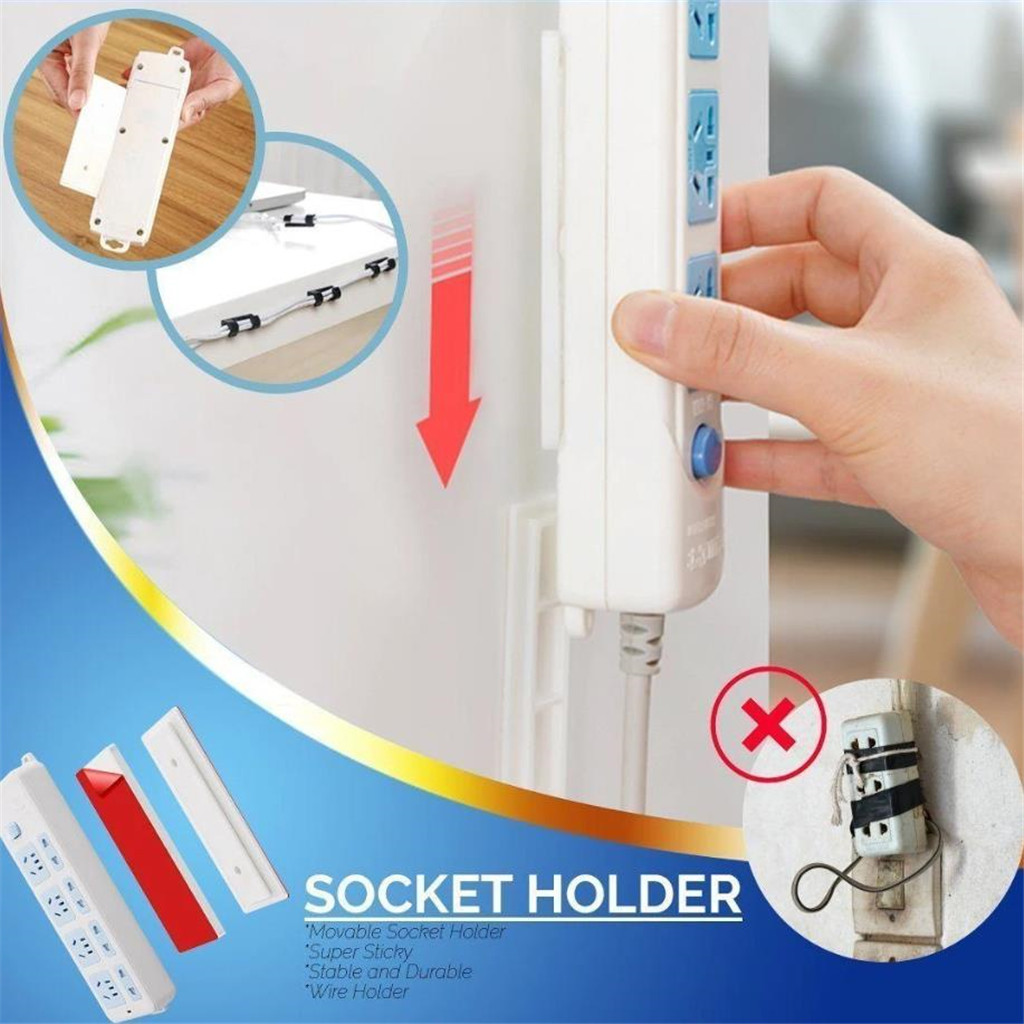 Plug Holder 2PCs Strong Adhesive Seamless Magic Plug Holder Wall Attached Hanging Plug-in Paste Type Storage Rack FH5