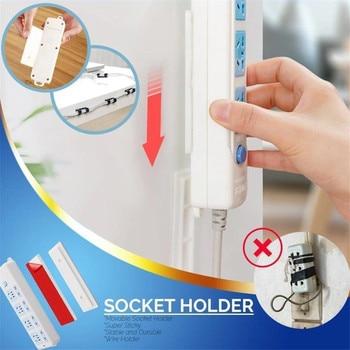 Soporte de enchufe 2 uds fuerte adhesivo sin costuras Magic Plug Holder colgador de pared Plug-in Tipo Adhesivo estante de almacenamiento FH5