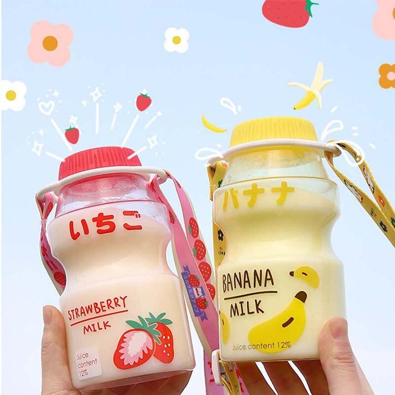 Bouteille deau en plastique de 480ml | Tour bouteille à boire en forme de Yakult, mignon Kawaii en Carton de lait pour enfants/fille/adulte, verre