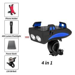 2000/4000 lm światła rowerowe LED ładowane na USB Bike lampa czołowa klakson rowerowy uchwyt na telefon Powerbank 4 w 1 MTB przednia lampka rowerowa