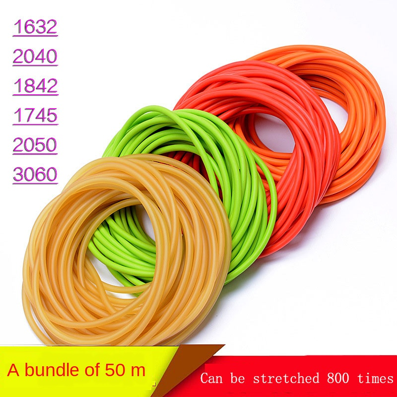 Natural Latex Tube Slingshot Round Rubber Band Custom, 50 Meters Rubber Band Outdoor Shooting Hunting Trapped