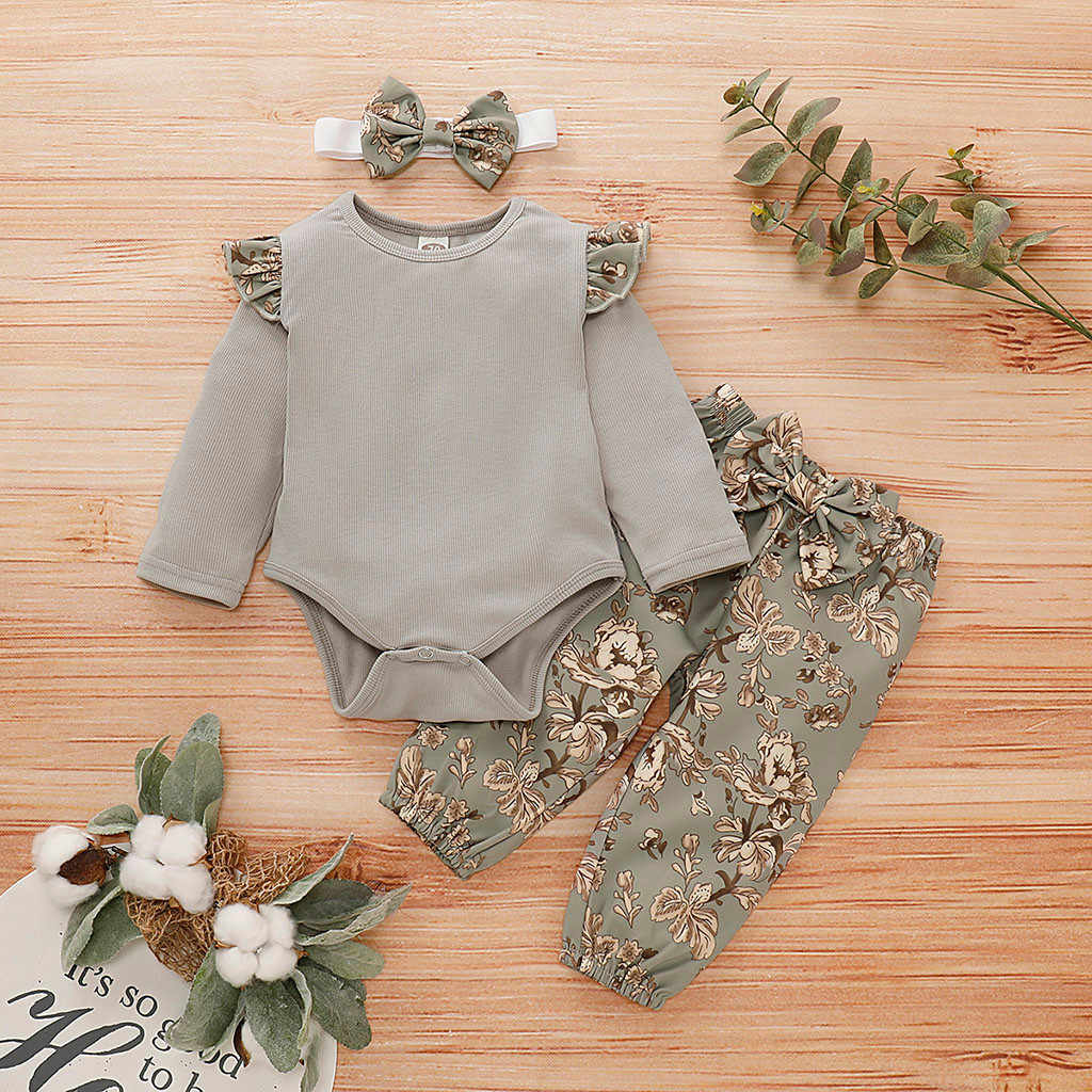 Baby Girl Clothes Newborn Autumn Winter Girls Ruffles Solid Romper Bodysuit+floral Pants+headband Outfits 0-18 Months Clothing
