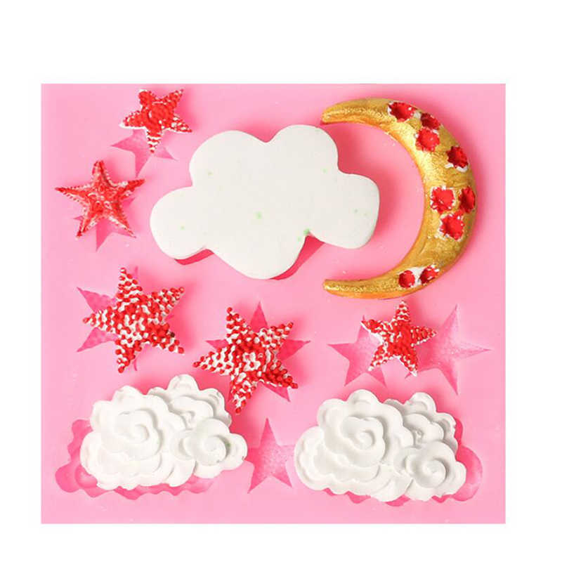 New Stars And Moon Clouds DIY Silicone Chocolate Mold  Chocolate Baking Tools Non-stick Silicone Cake Mold Jelly And Candy Mold