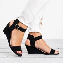 2020 Pink Black Wedges Sandals Summer Office High Heels Shoes Woman Buckle Strap Pumps Casual Women Shoes Plus Size(China)
