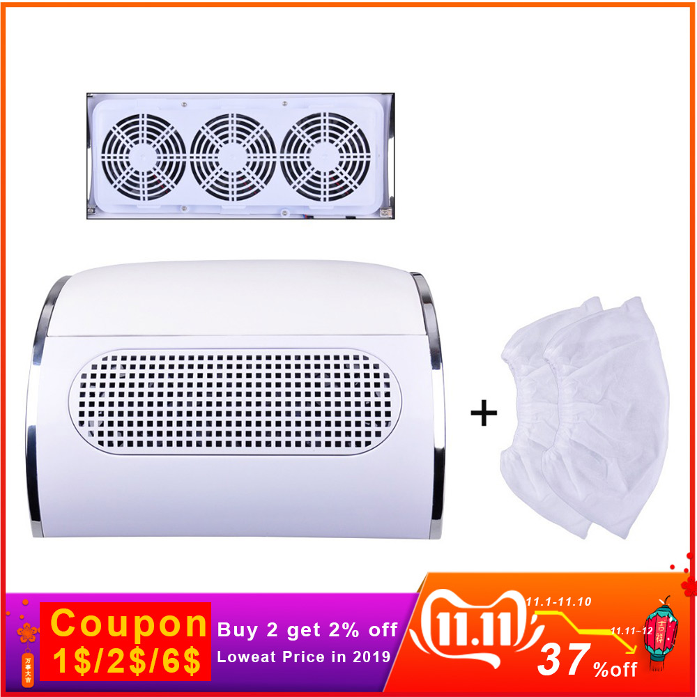 Powerful Nail Dust Suction Collector With 3 Fan Low Noisy Vacuum Cleaner Manicure Tools With 2 Dust Collecting Bags Nail Master