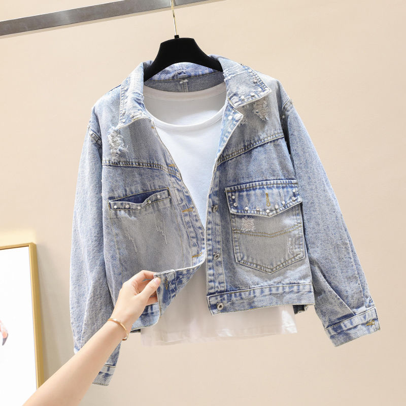 Fat Sister Spring And Autumn Broken Hole Nail Pearl Cowboy Coat Lady Student Korean Version Of The Short Version  Plus Size