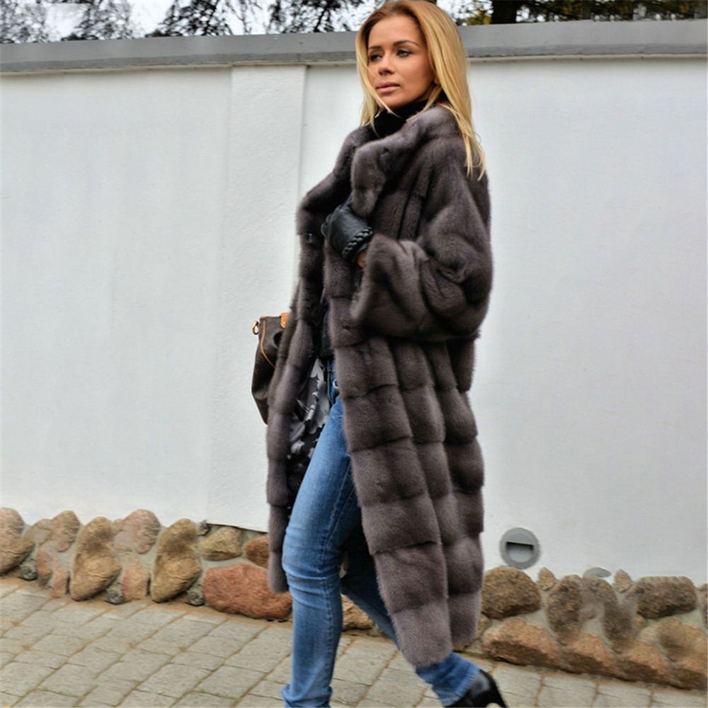 Tatyana Furclub 2019 New Fashion Winter Real Fur Coat Dark Grey Mink Coat With Standing Collar Thick Warm Long Overcoat