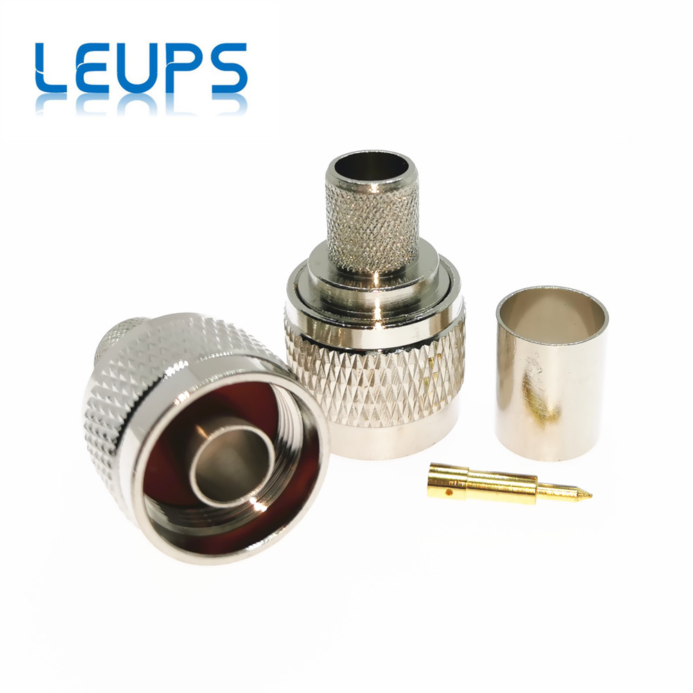 10pcs RF Connector N Male Crimp Teflon Insulation Nickel Plated RG58