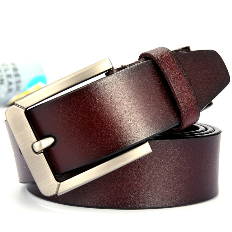 peikong Men's belt leather belt men pin buckle cow genuine leather belts for men 125cm high quality mens belt cinturones hombre