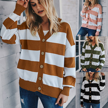 Cardigans Women Autumn Winter 2020 Casual V-neck Striped Knitted Tops Over Size Loose Cardigan Women Sweater Knitted Outerwear loose wool ball hat coat sweater 2020 autumn korean knitted cardigan women women fall fashion sweater cardigans v neck