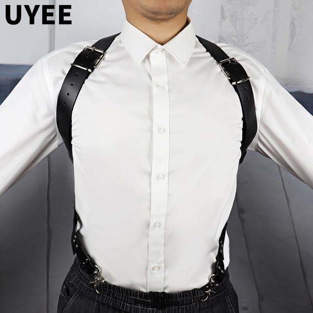 UYEE Männer Strumpfband Gürtel Goth Harness Dessous Harajuku Sexy Hosenträger Leder Strumpf Gürtel Harness Körper Verband Sexy Vintage