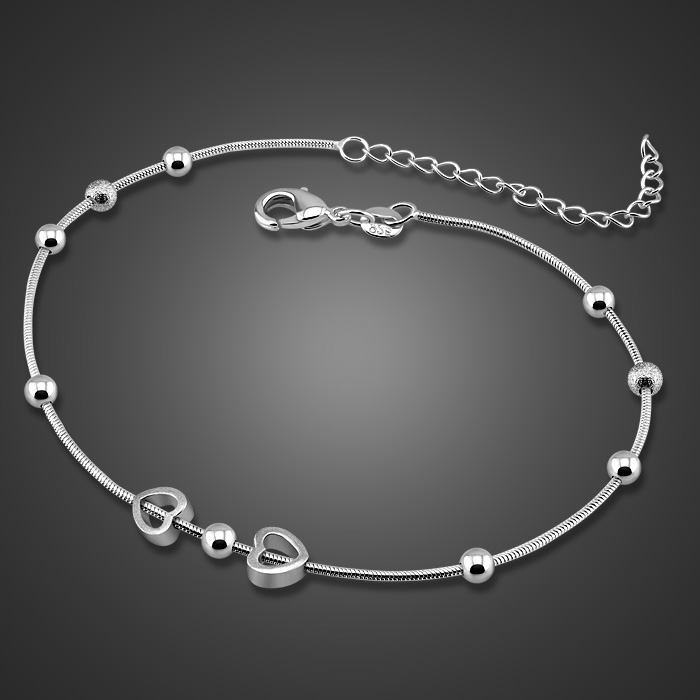 Fashion simple woman anklets.Solid 925 sterling silver heart-shaped anklets.Sterling silver 28cm snake chain anklets, jewelry