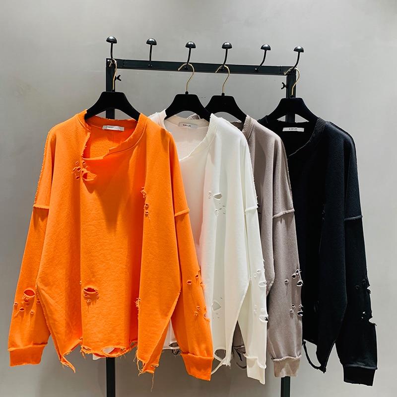 Loose Pullovers Woman 2020 Spring New Korean-Style Ripped Sweatshirt BF Loose Round-Neck Long-Sleeve Midi Top Orange Hoodies
