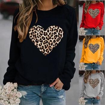 Leopard Heart Printed Hoodies Women Fleece Long Sleeve O Neck Loose Sweatshirt Girls Women Hoodie Pullovers   Winter Autumn