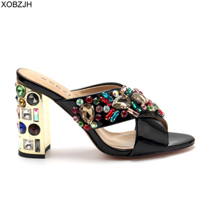 Image 3 - Сандалии стразы женские на высоком каблуке, роскошные брендовые дизайнерские босоножки, свадебная обувь с открытым носком, черные, лето 2019