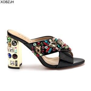 Image 3 - Dép Nữ Giày Nữ Mùa Hè Giày Cao Gót Sang Trọng Giày Sandal 2019 Thương Hiệu Thiết Kế Cưới Đen Kim Cương Giả Giày Sandal Hở Mũi Giày Người Phụ Nữ