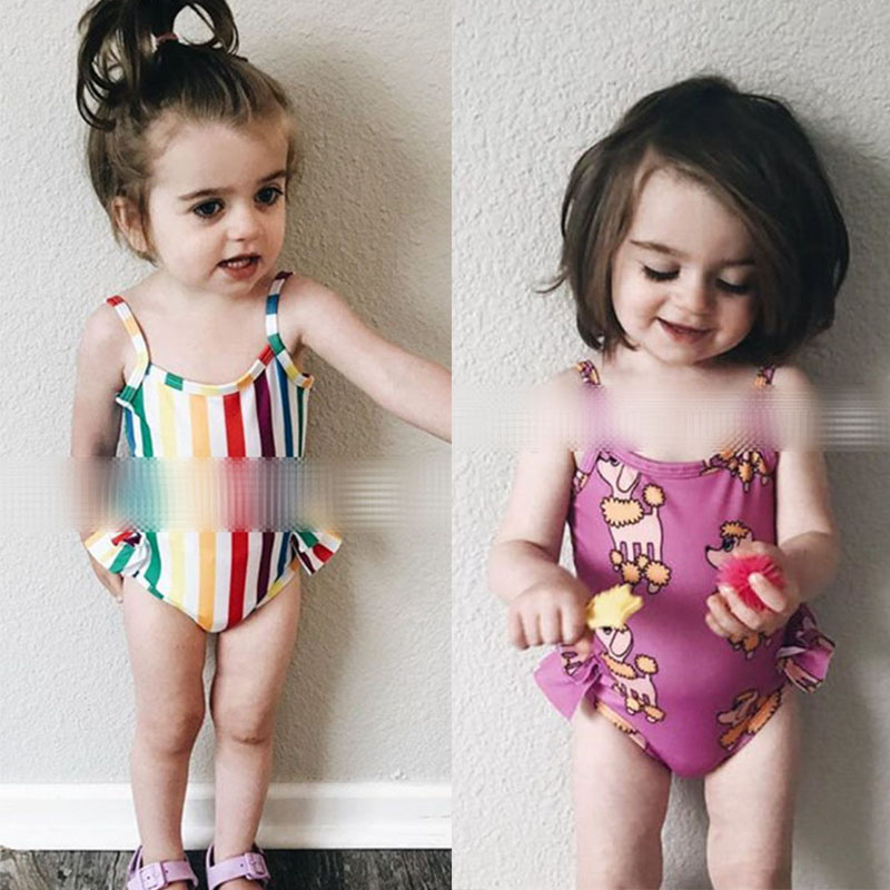 EnkeliBB Summer Fashion Rainbow Girl Swimming Suit Kids Hawaii Clothes Girl Lovely Cartoon Print Swimsuits Kids Sling Swim Wear
