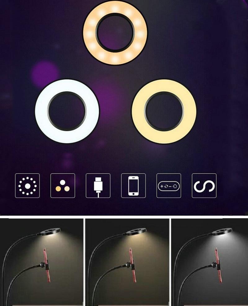 12w Long Arm Selfie Universal Holder 24 LEDs Ring Flash Fill Light caster USB Clip Camera Cell Phone Stand lamp Live stream 5V (3 Light Colour)
