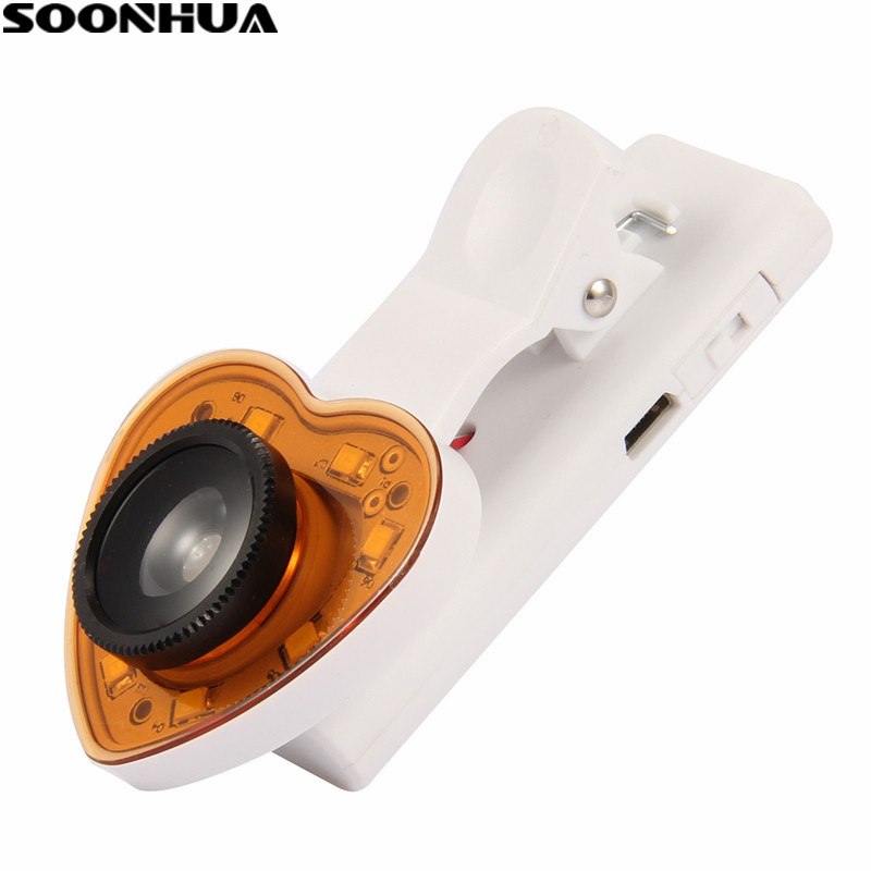 SOONHUA 3IN1 Clip On <font><b>Camera</b></font> <font><b>Phone</b></font> <font><b>Lens</b></font> Photography Wide Angle Fish Eye Len Light Selfie With USB Cable For IPhone Free Shipping image