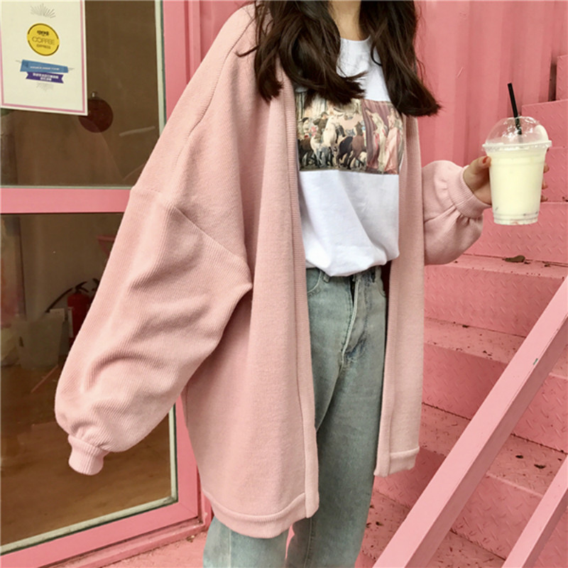 Autumn And Winter All-match Tide Loose Ulzzang Harajuku Wind BF Long Paragraph Sweater Cardigan Coat Thick Female