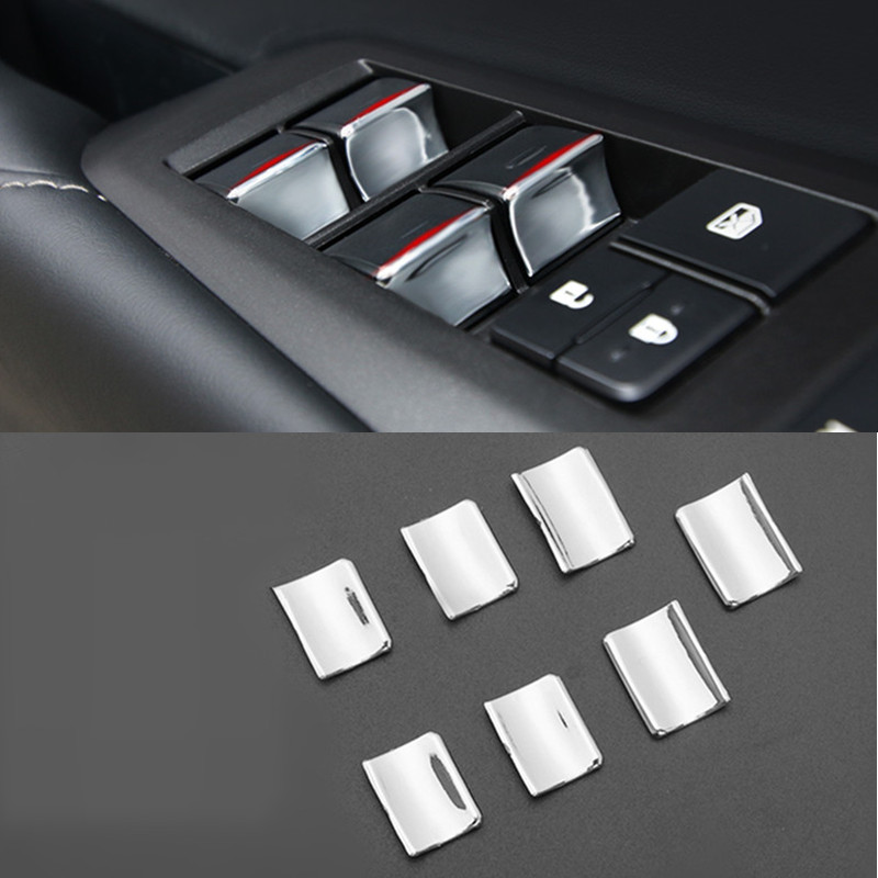 Chrome Door Window Glass Lift Buttons <font><b>Cover</b></font> Trim Stickers For <font><b>Lexus</b></font> <font><b>NX300h</b></font> 200t 200 2015-2019 <font><b>Car</b></font> Styling Interior Accessories image