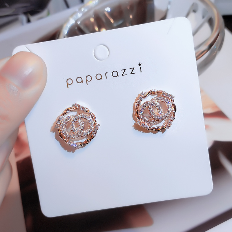 2020 Crystal Drop Earrings Luxury Shining Gold Silver Color Round Rhinestone Dangle Earrings for Women Wedding Party Jewelry