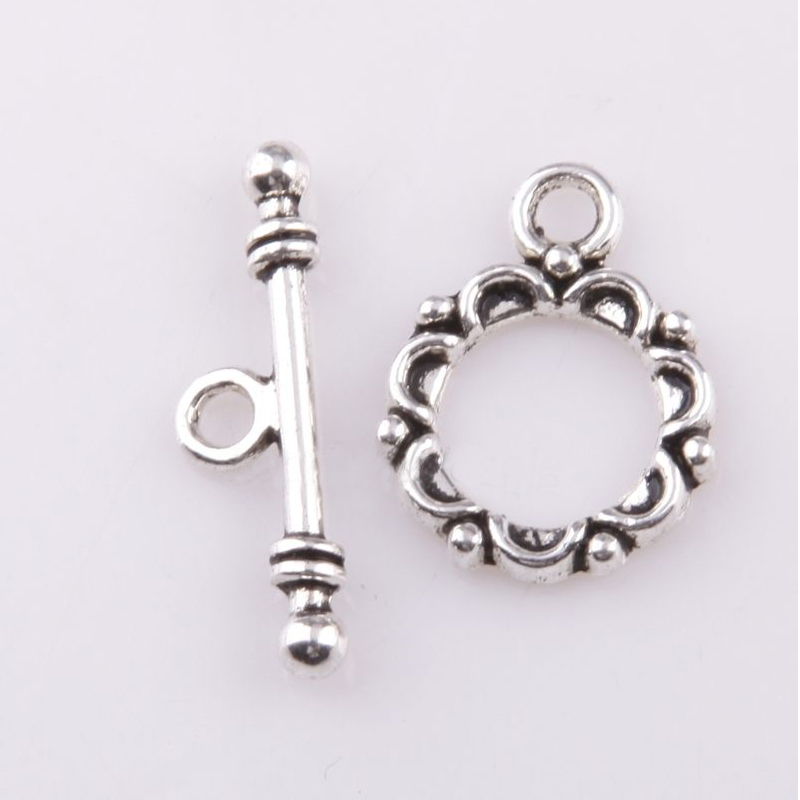 Metal Alloy Round Toggle Clasps Antique Silver 12 x 15mm  20 Pcs DIY Jewellery