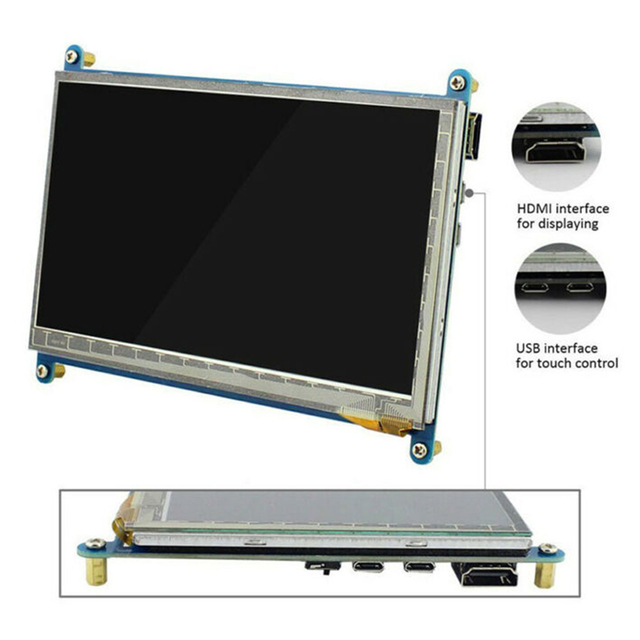"""7"""" HDMI USB LCD Display Monitor 1024*600 HD Capacitive Touch Screen portable monitor Accessory For Raspberry Pi drive-free 4"""