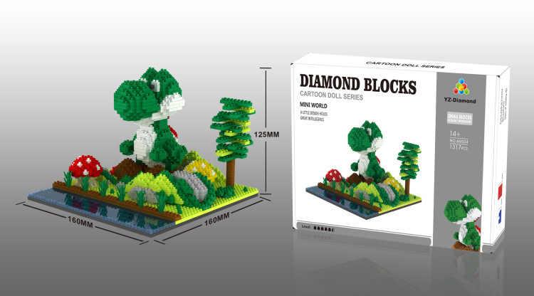 Scene micro blocco di diamante classico gioco super mario bros di un edificio di mattoni nintendoes figure dinosauro yoshi Bowser nanobricks giocattoli